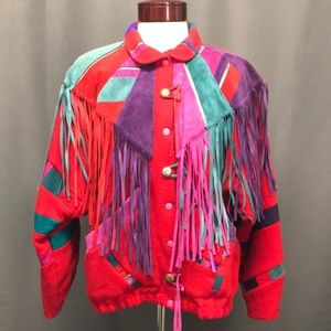 Leather and wool colorful fringe jacket